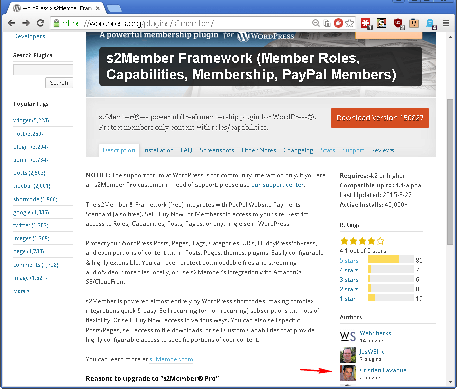 s2Member page at WordPress.org screenshot