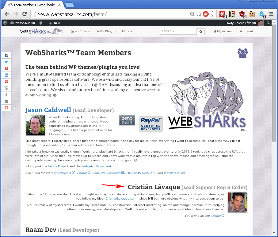 Websharks Team page screenshot